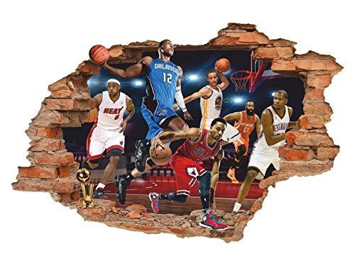 Vinilo adhesivo de pared 3D de la NBA, vinilo extraíble para deportes, decoración de la habitación de los niños
