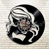 JNZART Shopaholic Lady Vinyl Record Reloj de Pared Chica de Moda Reloj de Pared Decoración del hogar Reloj de Pared para Novia Esposa Regalo B