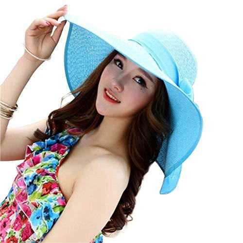 Weimay. Sombrero Arco de Paja Pescador Sombrero protección Lateral Amplia protección UV Playa ala Grande Sombrero Senderismo Deportes Sol Sombrero al Aire Libre Mujer (Azul Cielo)