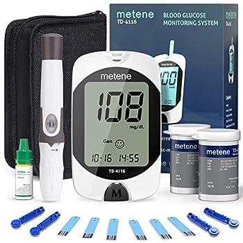 Metene TD-4116 Blood Glucose Monitor Kit 100 Glucometer Strips 100 Lancets 1 Blood Sugar Monitor 1 Lancing Device Blood Sugar Test Kit No Coding