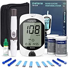 Metene TD-4116 Blood Glucose Monitor Kit, 100 Glucometer Strips, 100 Lancets, 1 Blood Sugar Monitor, 1 Lancing Device, Blood Sugar Test Kit, No Coding