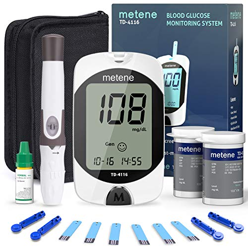 Blood Glucose Monitor Kit, 100 Glucometer Strips, 100 Lancets, 1 Blood Sugar Monitor, metene TD-4116 Blood Sugar Test Kit with Lancing Device and Control Solution, No Coding