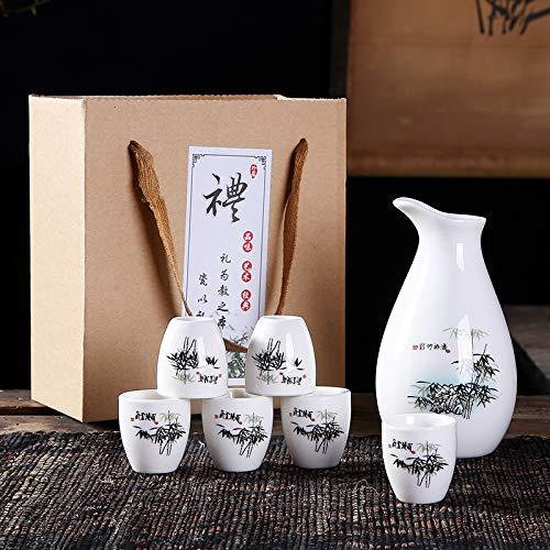 jjh Juego de vino de cerámica de porcelana con caja de regalo para copas de vino blanco, 1 olla y 6 vasos de regalo promocional de cerámica ecológica, juego de bar de vino (color: Zhubaopingan)