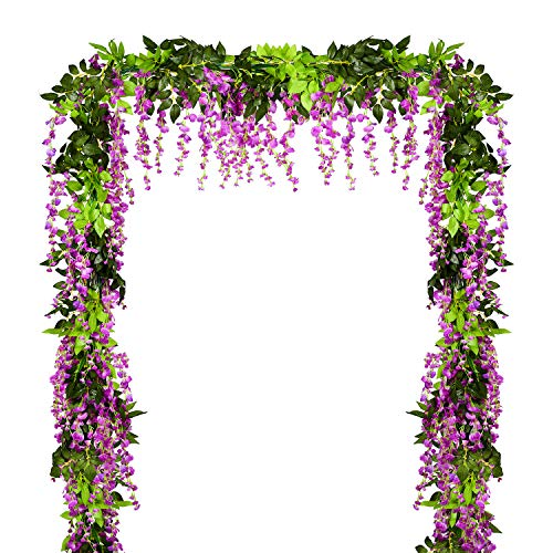 Artiflr 2Pcs Artificial Flowers Wisteria Garland, 6.9Ft/Piece Purple Artificial Wisteria Vine Silk Hanging Flower for Home Garden Outdoor Ceremony Wedding Arch Floral Decor