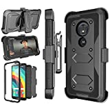 Njjex Motorola Moto G6 Play Case, Moto G6 Forge Holster, Moto E5 5.7' Case (XT1920DL), [Nbeck] Heavy Duty Built-in Screen Protector Rugged Locking Swivel Belt Clip Kickstand Hard Shell Cover [Black]