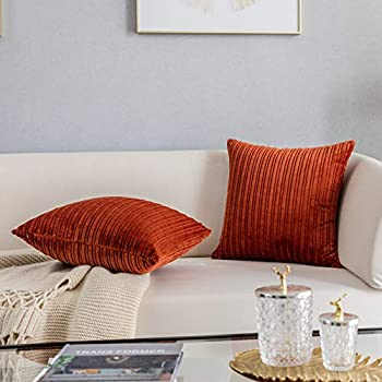 Kevin Textile Set of 2 Pillow Covers Solid Supersoft Corduroy Handmade Decorative Velvet Throw Pillow Cushion Cover for Bed Burnt Brick 18x18 Inch 45cm