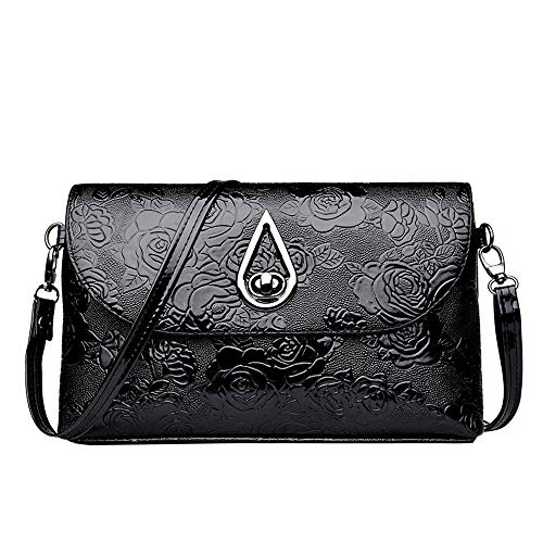 Crossbody Bags for Women,BOLUBILUY Flower Pattern Cover Leather Square Messenger Bag Shoulder Bag Fit for all Style