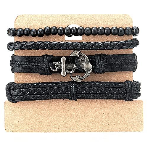COOLSTEELANDBEYOND Pulsera negra de mezcla de 4 bobinas alrededor de la correa, para hombre y mujer, perlas de madera y cuero, pulsera para el sudor, ancla marina