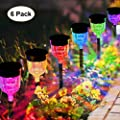 GELOO Solar Lights Outdoor, 6 Pack Color Changing Solar Pathway Lights Outdoor Garden Lights Landscape Lighting Weatherproof Auto On/Off for Garden Lawn Patio Yard Walkway Sidewalk Driveway