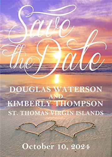 Beach Wedding Save The Date Cards, Sunset Beach Wedding