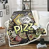 Loussiesd Manta de lana con diseño de pizza, manta de felpa de dibujos animados para sofá de cama, linda manta sherpa Colorfu cálida manta difusa divertida y caprichosa individual de 150 x 152 cm