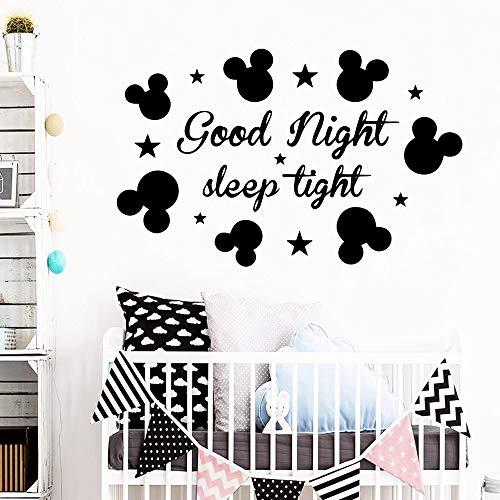 supmsds 3D Gute Nacht Wandaufkleber Moderne Mode Wandaufkleber Für Kinderzimmer Hintergrund Wandkunst 42X66CM
