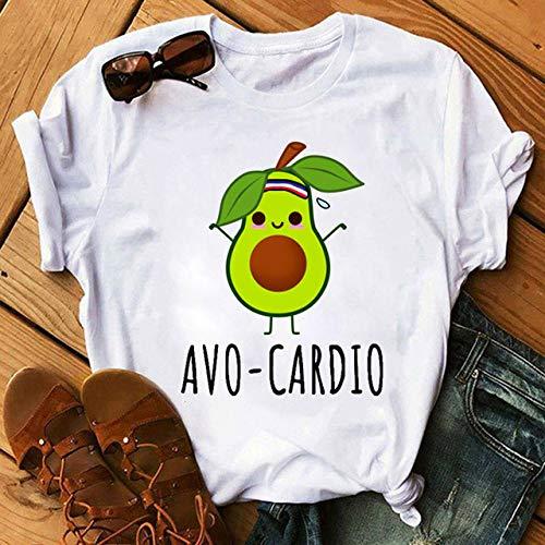 AFASSW Kawaii Cartoon Avocado T-Shirt Mode Frauen T Shirt Casual Funny Avocado Graphic Tops Female Tee Cute Avocado Christmas Intimate Short Sleeve 7,XS