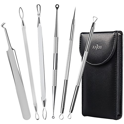 Anjou Blackhead Remover Kit Tool 6-in-1 Curved Tweezers Comedone Extractor Pimple Spot Popper Acne Whitehead Blemish Removal Antibacterial with Ergonomic Design