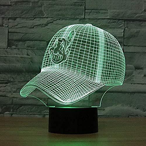3D Football Helm Led Cleveland Indianer Nachtlicht Touch 7 Farben Schreibtischlampe Wechsel USB Tischlampen für Kinder Geschenke Spielzeug