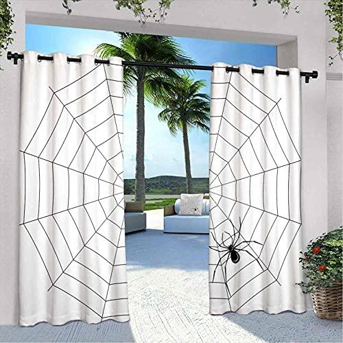 Spider Web - Cortinas para patio al aire libre, diseño de insectos tóxicos y venenosos, para dormitorio, sala de estar, porche, pérgola, 108 x 108 pulgadas, color negro y blanco