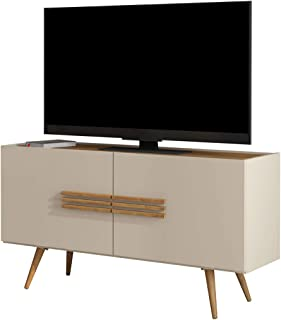 Scandinavian TV Stand Small for 50 Inches TV in Off White Vintage Design Bedroom Furniture