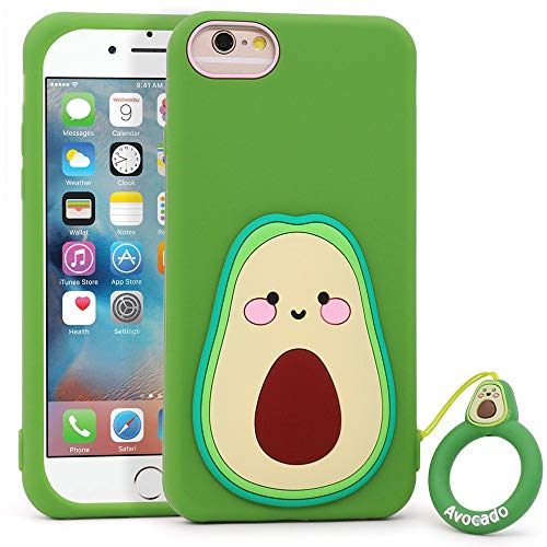 YONOCOSTA iPhone 6 Case, iPhone 6S Case, Funny Cute 3D Cartoon Fruit Avocado Shaped Soft Silicone Shockproof Back Cover Case with Keychain for iPhone 6 / iPhone 6S (4.7