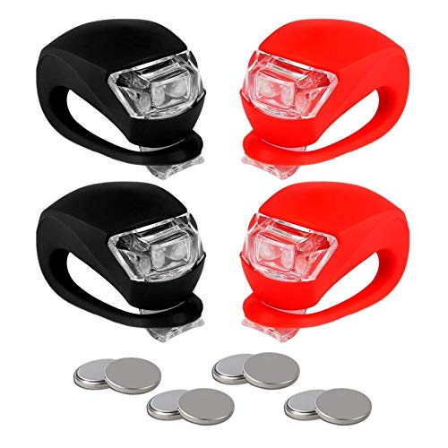 Refun Bicycle Light - Front and Back Silicone LED Bike Light Set - 2 High Intensity Multi-Purpose Water Resistant Headlight - 2 Taillight for Cycling Safety (2pcs Red & 2pcs Black)