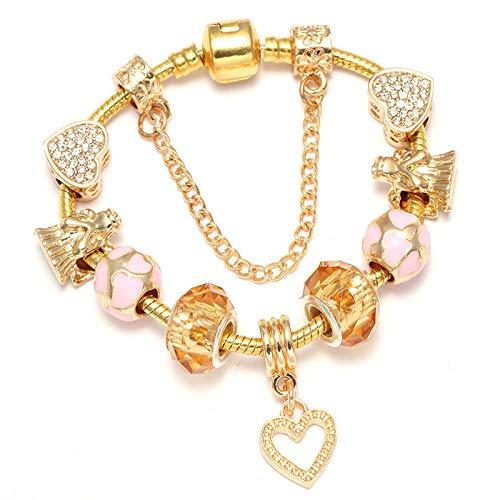 Estilo Europeo Cristal Corazón Perlas Charm Pulseras DIY Moda Pulseras Brazaletes para las Mujeres Buena Joyería Regalo C01 20cm