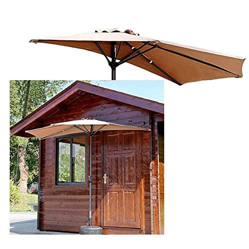 Paraguas parasol paraguas khaki porche paraguas al aire libre, paraguas de sombra del sol del balcón para un espacio pequeño, fácil de operar mango de manivela, se adapta al espacio al aire libre
