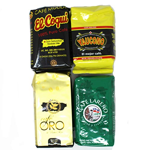 Puerto Rican Favorites Coffee Variety (Cafe Coqui, Cafe Yaucono, Cafe Oro, Cafe Lareno) - 4 pack (8oz each)