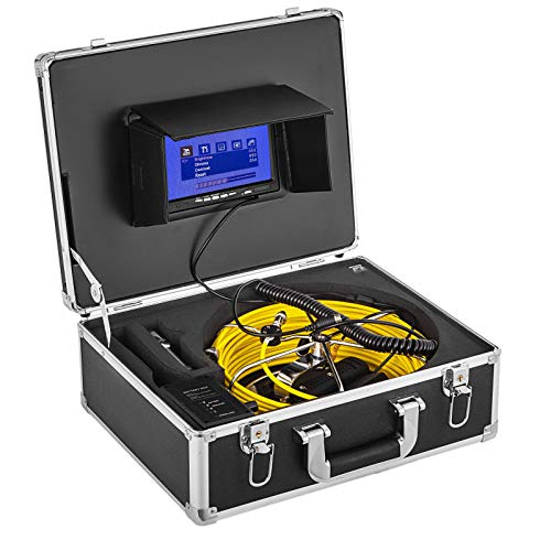 Cámara de Inspección Cable 30 m, Pantalla LCD de 7', Kit de Endoscopio Impermeable W / 8G SD, con Batería de 4,500 mAh, Aplicación Amplia para Inspección de Tubería Subterránea y de Aire Acondicionado