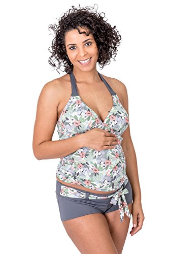 Petit Amour Umstands-Tankini Schwangerschafts-Bikini TUKINI Badeanzug Bademode Set Oberteil Unterteil grau Mehrfarbig Cup B bis D Gr. M