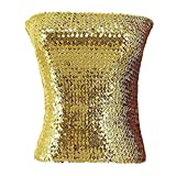 ACSUSS Womens Shiny Sparkling Sequins Bustier Party Clubwear Tube Top Gold One Size
