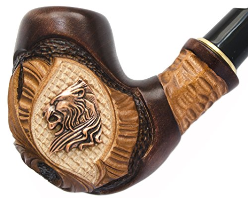 """""""Lion VI"""" Pear Wood Hand Carved Tobacco Smoking Pipe + Pouch"""