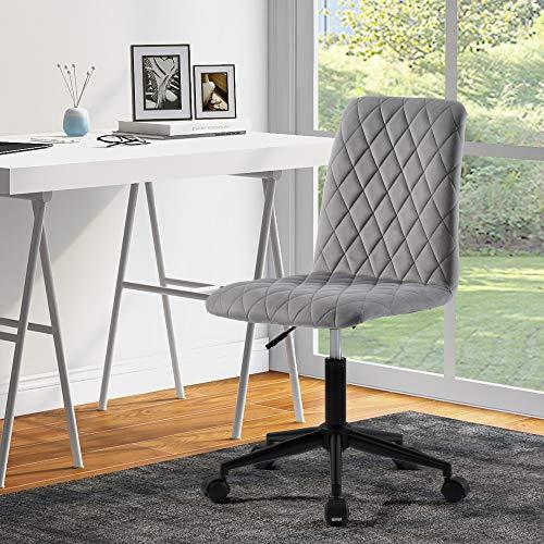 ModernLuxe Silla de escritorio sin brazos para el hogar, oficina, oficina, dormitorio, terciopelo ergonómico