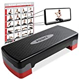 POWRX - Step fitness/aeróbic escalón (68 x 28,5 cm) - Stepper ideal para ejercicios en casa - Altura regulable y superficie antideslizante + PDF workout (Negro/Gris)