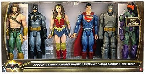 DC Batman v Superman  Dawn of Justice Aquaman, Batman, Wonder Woman, Superman, Armor Batman & Lex Luthor 12 Action Figure 6-Pack by DC