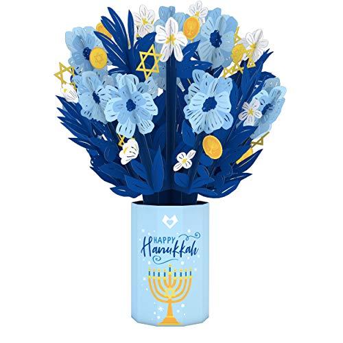Lovepop Hanukkah Flower Bouquet - 3D Pop Up Flowers, Artificial Flower, Hanukkah Greeting Card, Happy Hanukkah