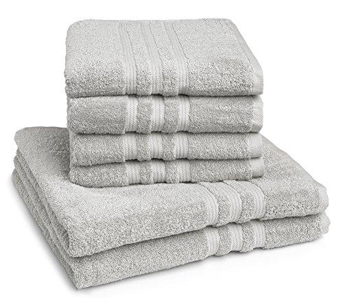 Juego de toallas Castell by sleepling 100144/287/764/099-P (cuatro toallas de 50 x 100 cm, dos toallas de ducha de 70 x 140 cm), 100% algodón, algodón, plata, 50 x 100 cm / 70 x 140 cm