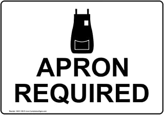 Apron Required Safety Sign, White 7x5 in. Plastic for Safe Food Handling PPE by ComplianceSigns