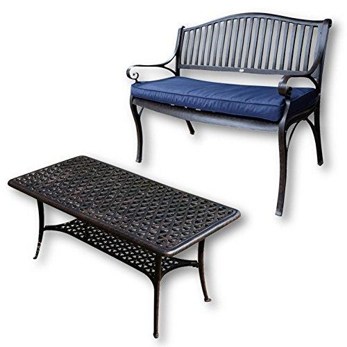Lazy Susan - GRACE Gartenbank und CLAIRE Rechteckiger Garten Beistelltisch - Gartenmöbel Set aus Metall, Antik Bronze (Blaues Kissen)