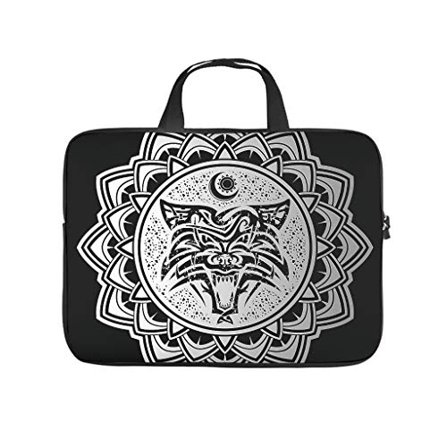 Funda para portátil con impresión 3D de Wikinger Wolf negro de neopreno suave, funda para portátil, funda personalizada para estudiantes, blanco, 15 pulgadas,