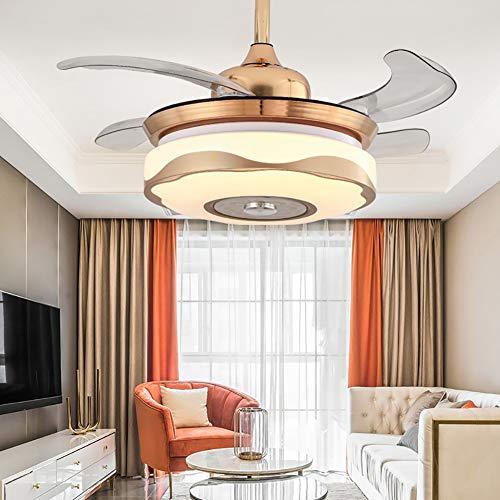 Ventilador de techo con luz LED y control remoto, luz de ventilador invisible luz de ventilador telescópica de 36 pulgadas / 42 pulgadas restaurante ventilador de techo LED luz de ventilador de techo