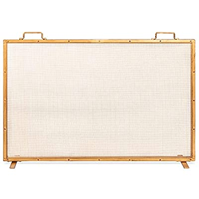 Best Choice Products 38x27in Single Panel Fireplace Screen Handcrafted Steel Mesh Spark Guard for Living Room, Bedroom Décor w/Handles - Antique Gold from Best Choice Products