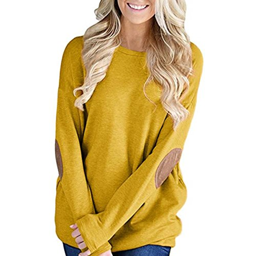 Taore 2017 Autumn Women's Loose Long Sleeve Strip Elbow Patch Tunic Shirt T-Shirt Dress (S, X-Yellow)
