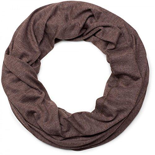 styleBREAKER unifarbener leichter Jersey Loop Schal, Schlauchschal, Tuch, Einfarbig, Unisex 01016115, Farbe:Dunkelbraun meliert