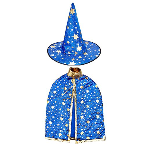 Halloween Costumes Witch Wizard Cloak with Hat for Kids Children Boys Girls Halloween Props Set (Blu - http://coolthings.us