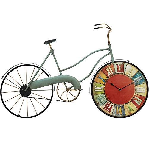 Everyday home American retro chambre salon horloge créative, décoration de mur de vélo, décoration personnalisée (Couleur : Red, edition : Rome)