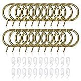 20 anelli per tenda e ganci, diametro interno 30 mm, in metallo con ganci in plastica, anelli per tende con 22 clip per tende e aste (ottone)