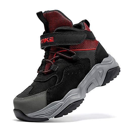 Kinder Wanderschuhe Jungen Wanderstiefel Mädchen Outdoor Trekking Schuhe rutschfeste Mid Trekkingstiefel Schwarz gr 35