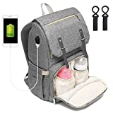 Jayol Baby Wickelrucksack Wickeltasche Multifunktional kapazität Oxford Mama Rucksack mit 2 kinderwagen-haken und USB-Lade Port (Grau)