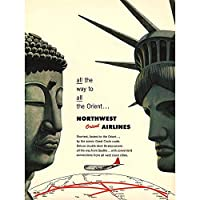 Travel America Airline Orient 1953 Statue Liberty Buddha Art Print Poster Wall Decor 12X16 Inch 旅行アメリカ航空会社オリエント像自由ポスター壁デコ