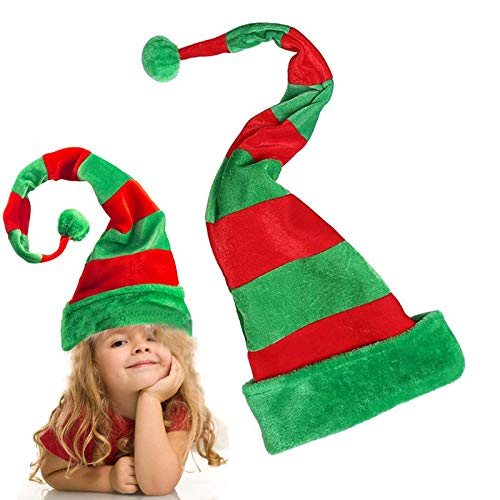 Christmas Elf Hat, Long Striped Felt and Plush Novelty Funny Elf Hat | Christmas Accessory Party Favors One Size for All