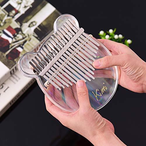 17-Key Kalimba Thumb Piano Material de acrílico transparente con bolsa de transporte Notas musicales Pegatinas Tuning Hammer Paño de limpieza Regalo musical